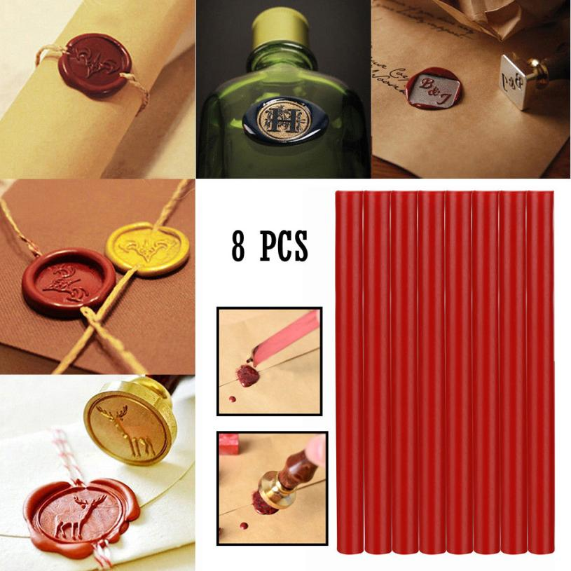 Sealing wax  8Pcs Cylindrical Manuscript Sealing Seal Wax Sticks Wicks For Postage Lettr  Wedding and Party Invitations 2018J17 zero 5pcs wine red manuscript sealing seal wax sticks wicks for postage letter