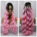 Dark roots 3inch  ynthetic lace wig Ombre Pink Body wave Long Heat Resistant Synthetic Hair Lace Front Wigs For Black Women