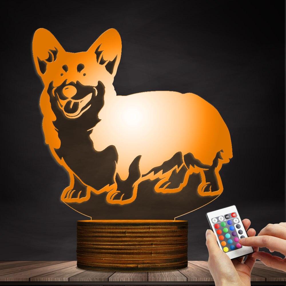 1 pezzo Cardigan Welsh Corgi Dog Progettato Lampada 3D illusion Luce di Notte Animale Da Compagnia Hound Cucciolo di Razza HA CONDOTTO LA Luce di Notte lampada da tavolo