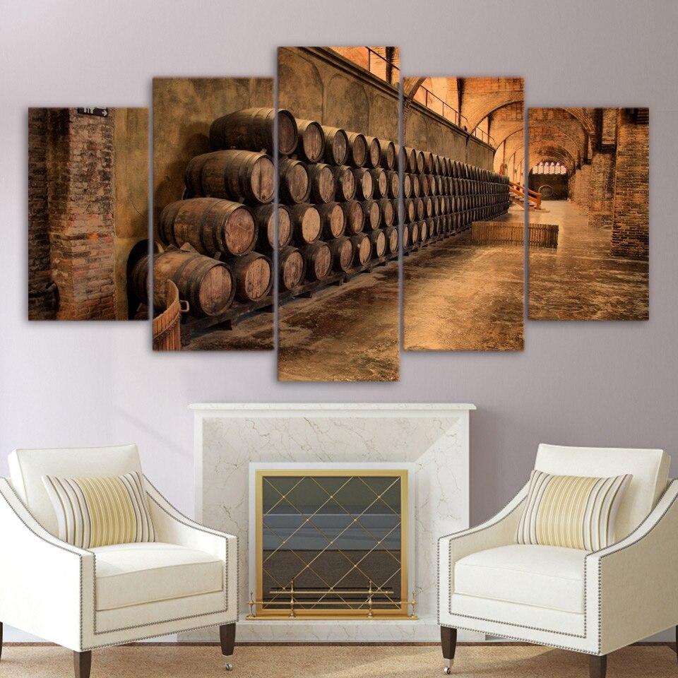 Online-Shop 5 Stücke Weinkeller Barrel Wandkunst Leinwand Bilder ...