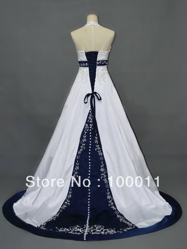 Excepcional Vestidos De Boda Azul Marino Y Blanco Ideas Ornamento ...