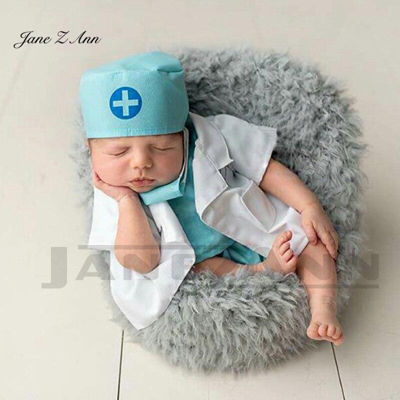 Jane Z Ann Newborn photography theme clothing Little Doctor costume blue pink 6pcs set hat top pants outwear Mask stethoscope