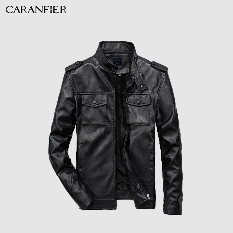 CARANFIER Nouvelle Qualité Faux Cuir Hommes Veste Moto PU Veste En Cuir Solide Couleur Multi-poche Grande Taille Manteau US taille