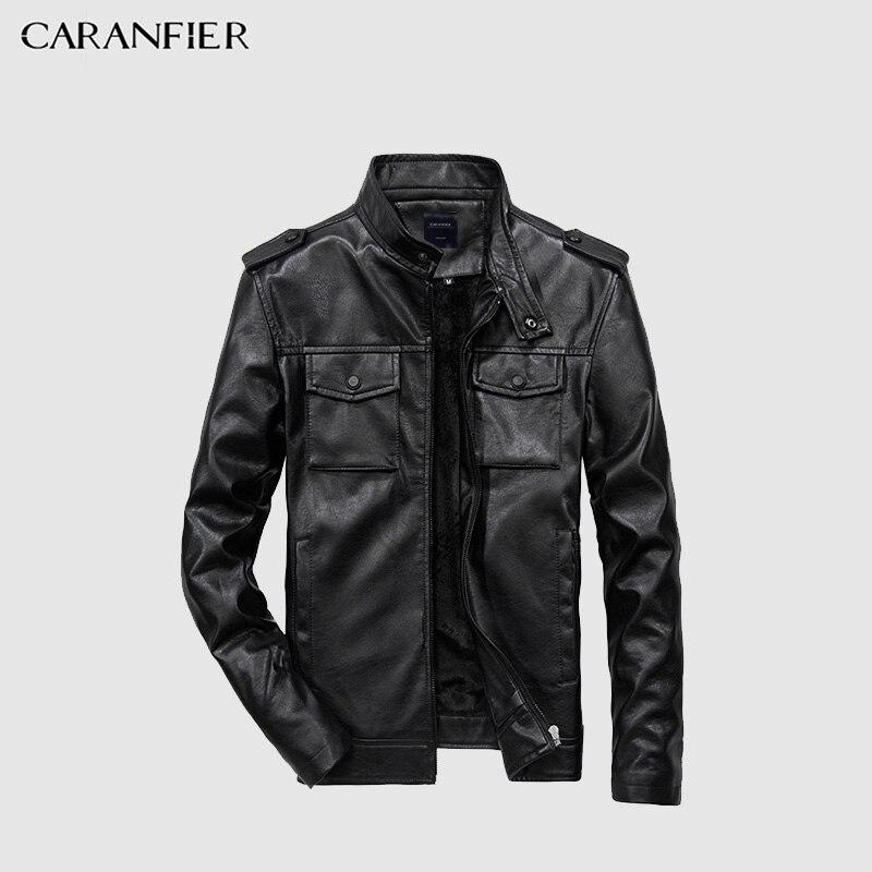 CARANFIER nueva calidad de los hombres de cuero de imitación chaqueta motocicleta PU chaqueta de cuero Multi-bolsillo del Color sólido gran tamaño EE. UU. tamaño