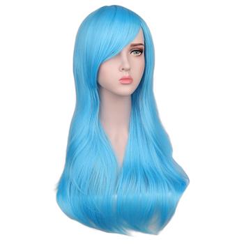 QQXCAIW kobiety długie faliste peruka do cosplay czerwona róża różowy czarny niebieski Sliver szary brązowy 70 Cm temperatury syntetyczne peruki do włosów tanie i dobre opinie Wysokiej Temperatury Włókna Falista 100 Średnia wielkość 1 sztuka tylko