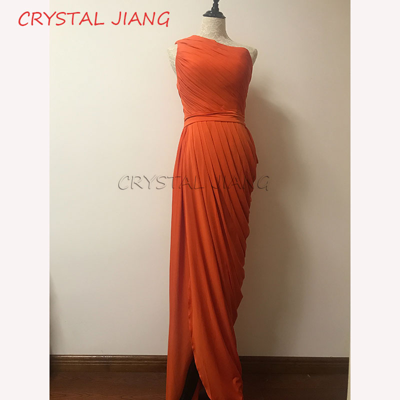Burnt Orange   Bridesmaid     Dresses   2018 One Shoulder Draped   Dress   Long Maid Of Honor   Dresses   With Split