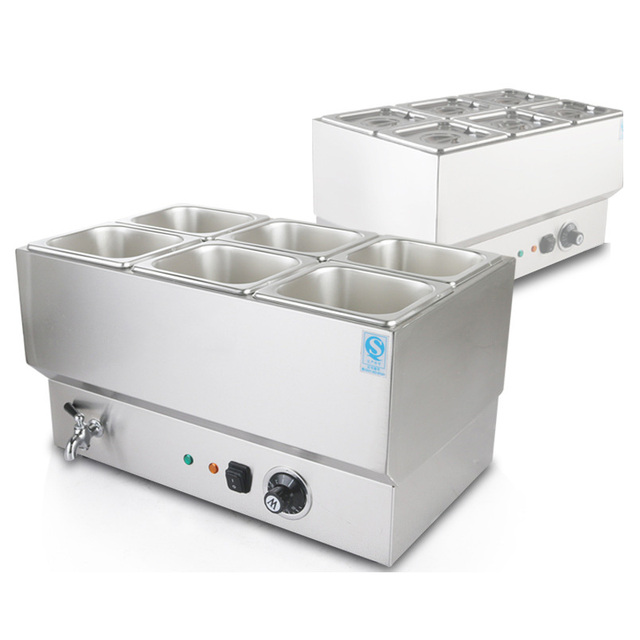 Commercial Stainless Steel Electric Soup Heater Bain Pot Six Pots ...