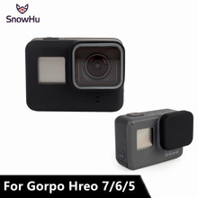 Купить с кэшбэком SnowHu For Go Pro Accessories Action Camera Case Protective Silicone Case Skin +Lens Cap Cover For GoPro Hero 5 6 7 Camera GP502