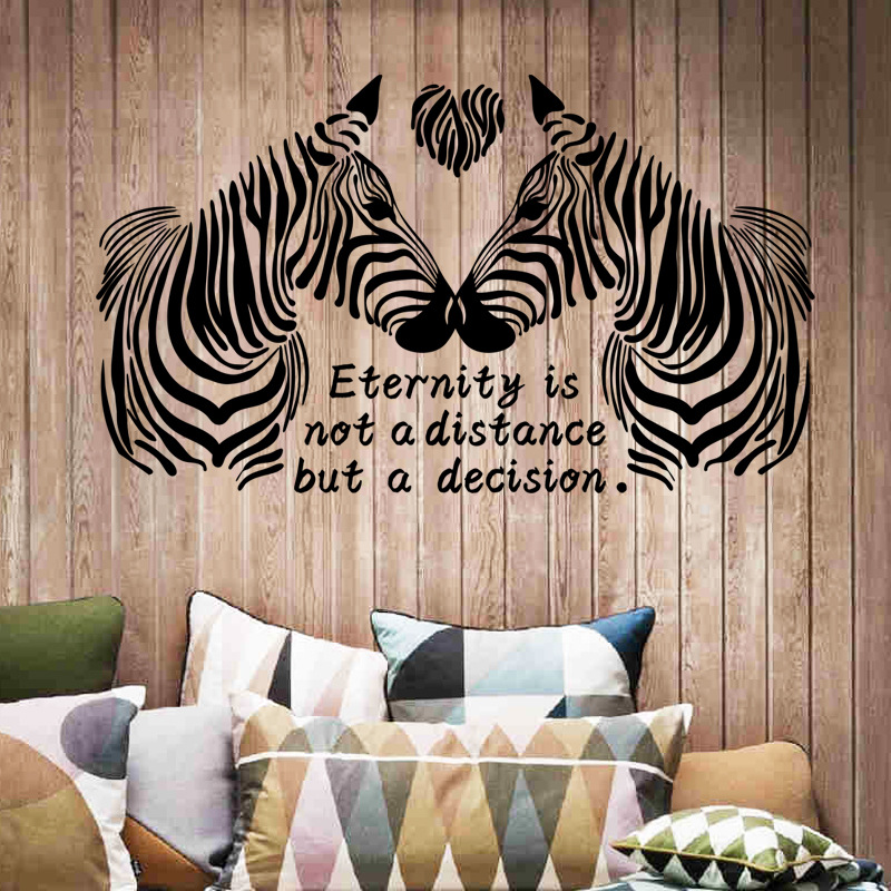AuBergewohnlich New Arrival Black White Love Zebras Wall Stickers For Bedroom Animal Decor  For Marriage Room 3d Home Decor Adesivo De Parede   Us1