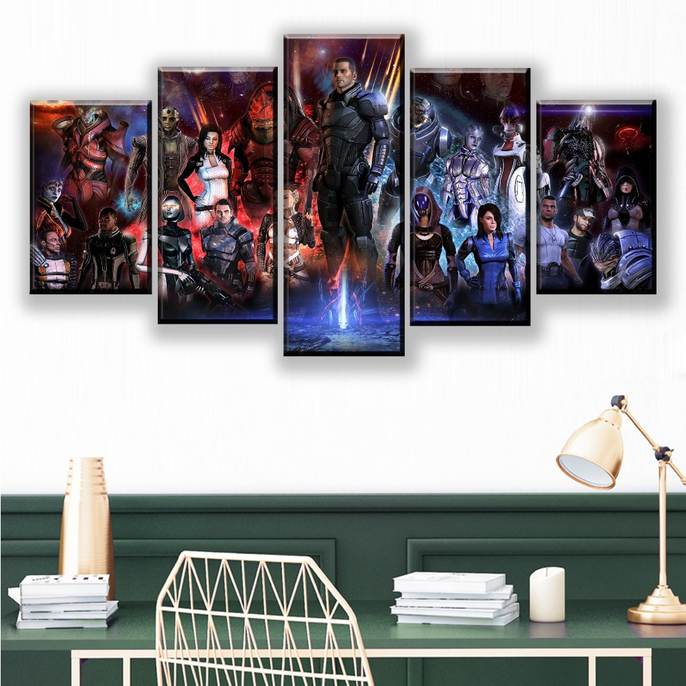 Modern Wall Art Canvas HD Prints Poster Home Decorative 5 Pieces Game Mass Effect Role Painting Framework Modular Pictures in Painting Calligraphy from Home Garden