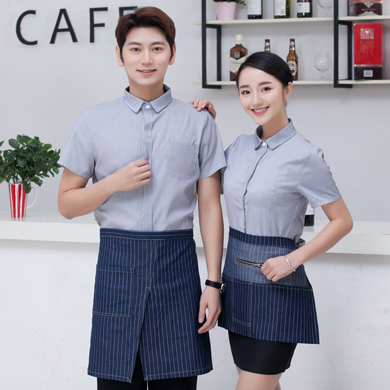 Hotel Women Work Clothes Uniform Summer Waitress Short-sleeved Overalls Jacket Chinese Restaurant Hot Pot Shop Waiter Coat H2333
