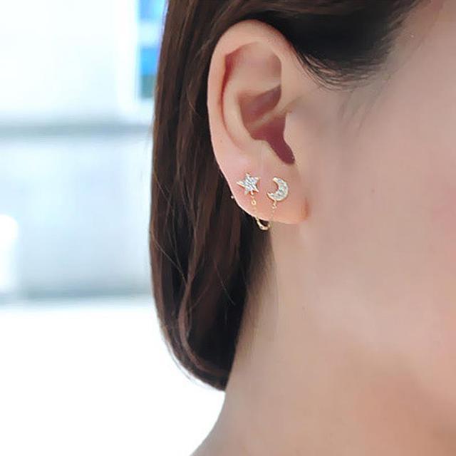 b39ebf752 Women Lady Elegent Crystal Rhinestone Ear Stud Earrings Fashion Jewelry  Gold Color Star Moon