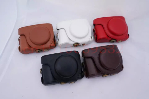 Leather Camera Case Bag with Shoulder strap for Casi& EXILIM EX-H50 H60 ZS220