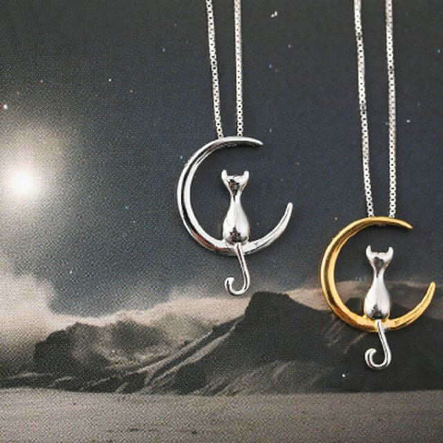 Fashion Cat Moon Pendant Necklace Charm Silver Gold Color Link Chain Necklace For Pet Lucky Jewelry For Women Gift Shellhard 1