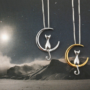 Fashion Cat Moon Pendant Necklace Charm Silver Gold Color Link Chain Necklace For Pet Lucky
