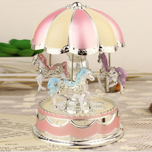 Merry-Go-Round Music Box Christmas Birthday Gift Music Box Pleasure Ground Design Musical Box include battery