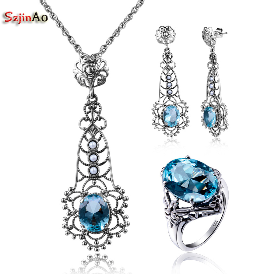 Szjinao Wholesale Fashion Aquamarine Pendant Earrings Ring Real Vintage Sterling Silver 925 Jewelry Set for Women цены онлайн