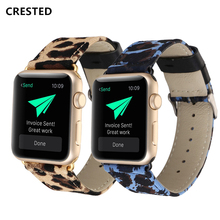 цена на CRESTED Genuine Leather Strap for Apple Watch 4 band apple watch strap 42mm 38mm Iwatch Series 3 2 Watchband 44 mm 38mm bracelet