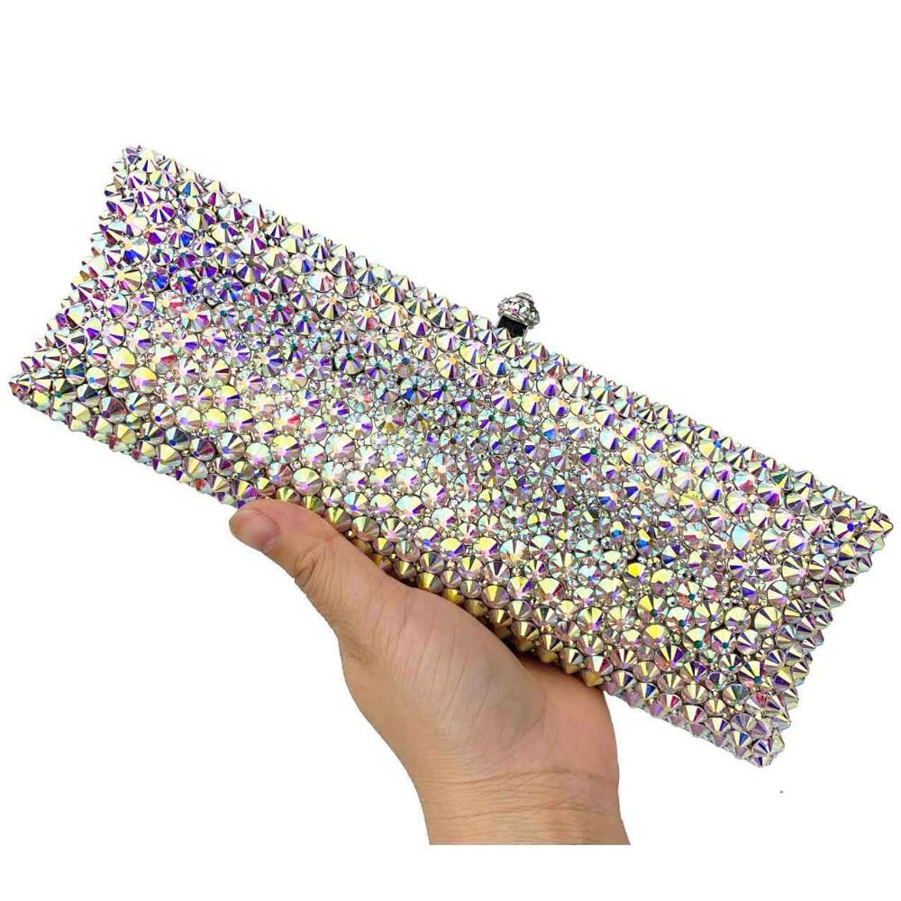 AB Silver Clutch Bags Designer glaring Crystal rhinestone Evening Bags Long Wedding bride Purse Day Clutches