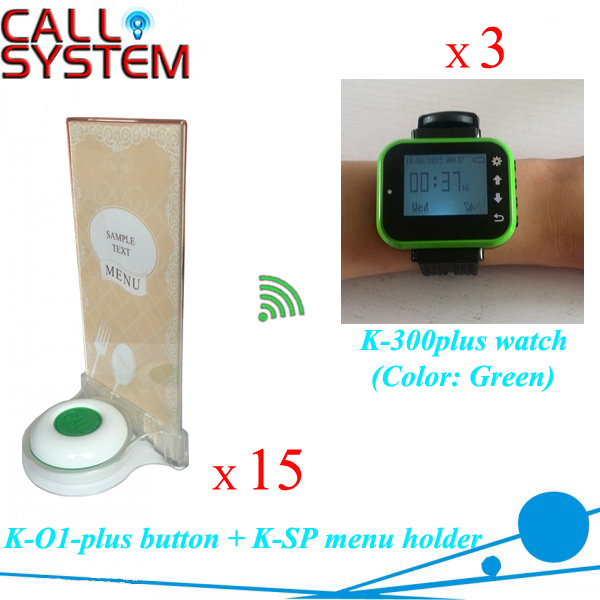Table waiter service small call button system 3 watch wrist receiver + 15 units buzzer with holder insert the food menu one set wireless system waiter caller bell service 1 watch wrist pager with 5pcs table customer button ce passed