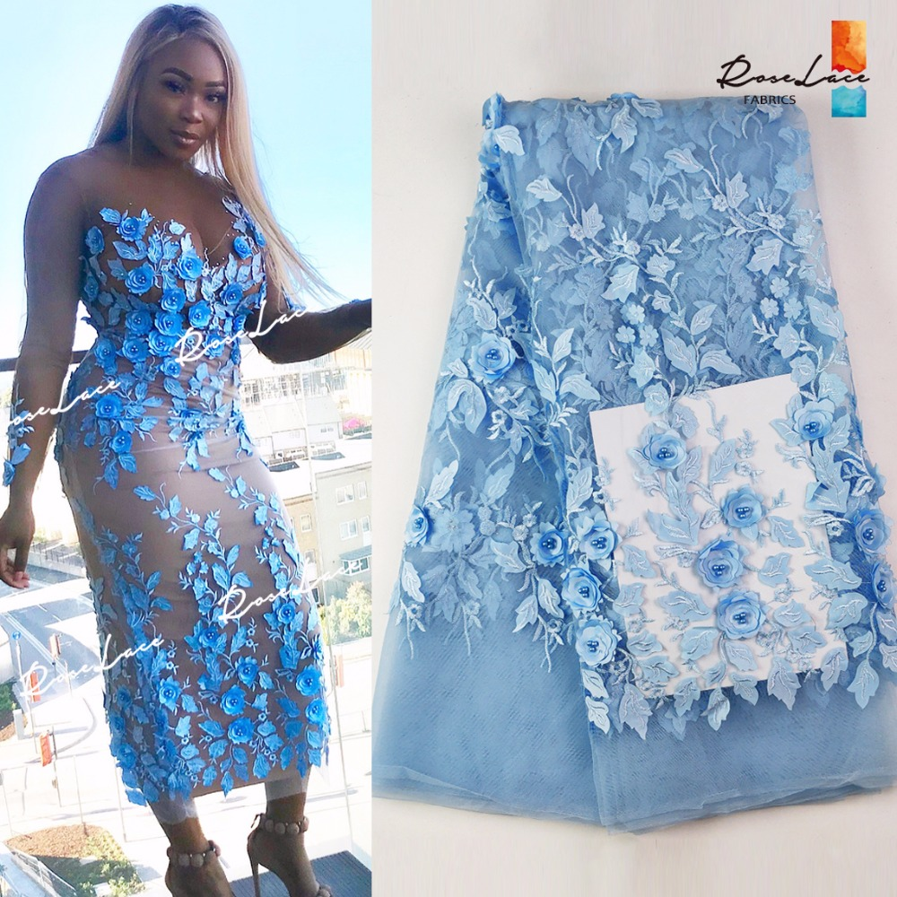 3D Sky Blue Color Applique Net Lace Fabric With Beads 2018 High Quality Flower Embroidered Guipure