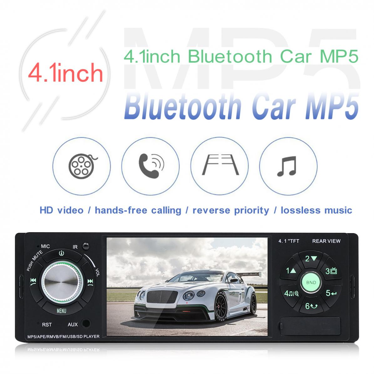 4.1 Inch 12V 1 Din HD Car Stereo Radio Player Bluetooth MP3 MP5 Auto Multimedia Player Support USB/TF/AUX + Remote Control image