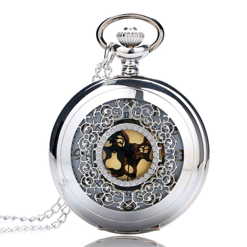 Vintage Pendant Hollow Exquisite Grilles Elegant Retro Gift Men Women Pocket Watch with Silver Quartz Necklace Chain Pocketwatch