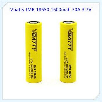 1600mah Vbatty IMR 18650 1600mah 30A 3,7 V li-ion batería recargable de alto drenaje con tapa plana para linterna (1 pc/lote)