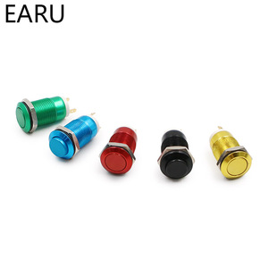 12mm Oxide Aluminium Red Blue Green Black Yellow Waterproof Metal Push Button Switch High Flat Head Momentary Fixation Latching(China)