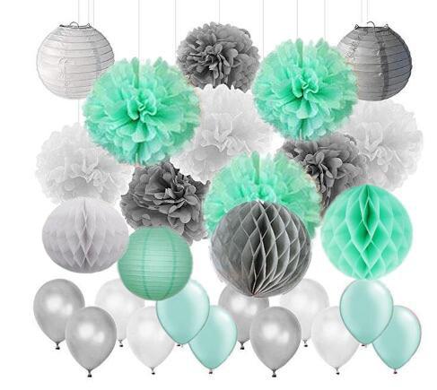 45pcs/set Mint Green Gray White Tissue Paper Pom Poms Lanterns Paper Honeycomb Balls Wedding Bridal Shower Birthday Decor