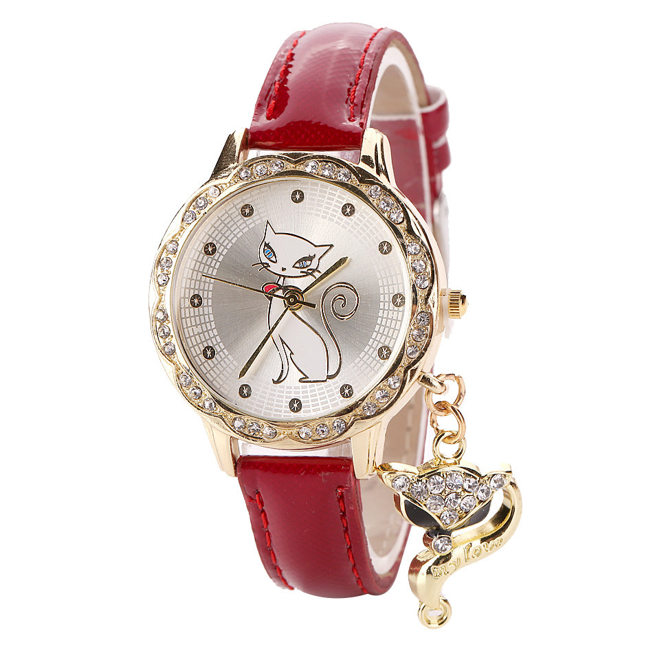 NEW Design Watch Women Watches Cat Wrist Watch Casual Lady Crystal Diamond Pendant Quartz Watches Gift Clock Relogio Feminino *A