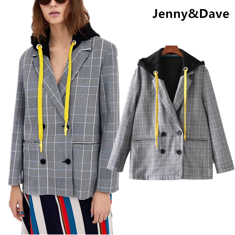 Jenny&Dave blazer feminino england style streetwear notched double breasted vintage blazer with hooded women blazers and jackets