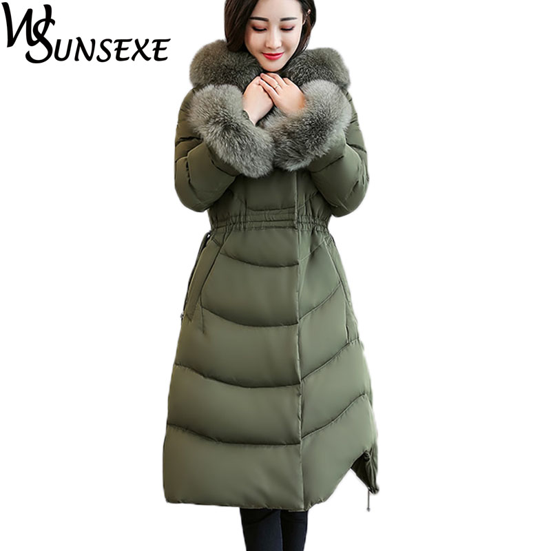 Winter Warm Faux Fur Hooded Jacket Parka Women Casual Soild Color A-line Coat Fur Sleeve Drawstring Waist Thicken Cotton Outwear women lady thicken warm winter coat hood parka overcoat long outwear jacket