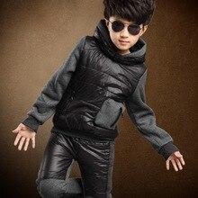 Зима теплая , ветровки и брюки комплект корейский мода дети одежда зима верхняя одежда куртки девочки или мальчики черные толстовки спортивный костюм 4 т