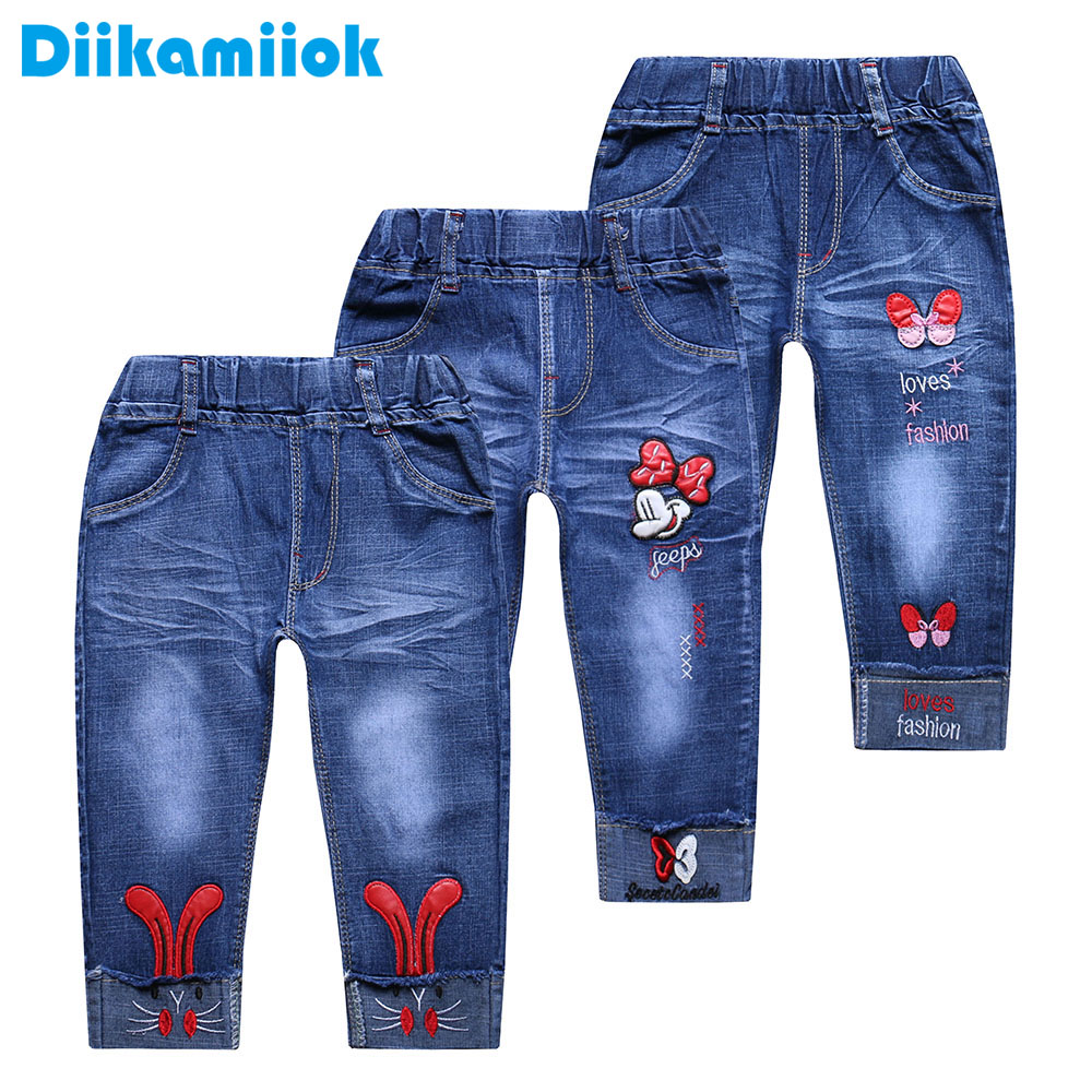 2018 New Girls Jeans Cute Cartoon Pattern Children Casual Pants Kids Baby Straight Jeans For Girl Short Pants 3-8 Year CF001