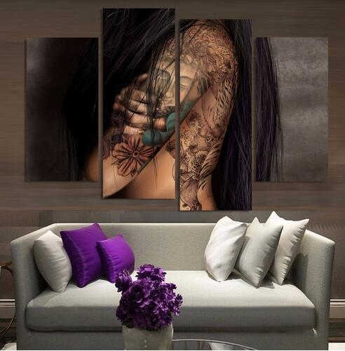 Neue Ankunft Abtract Nackt Tattoo Von Buddha Leinwand Wandkunst Bild Für  Wohnzimmer Dekoration Ungerahmt 4 Stücke