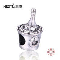 FirstQueen Silver 925 Ice Bucket Charm With Stone Beads Fits Most Popular European Bracelets Fine Jewelry