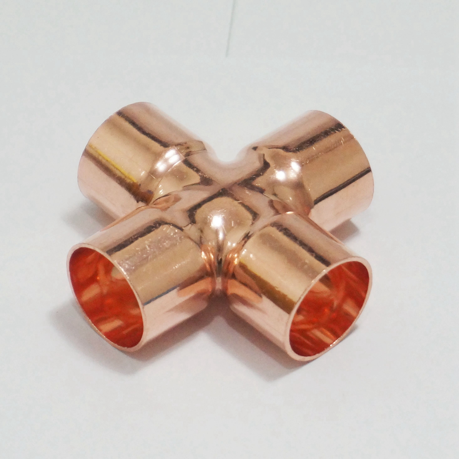 22x1mm copper end feed equal cross 4 way plumbing pipe for Copper water pipe fittings types