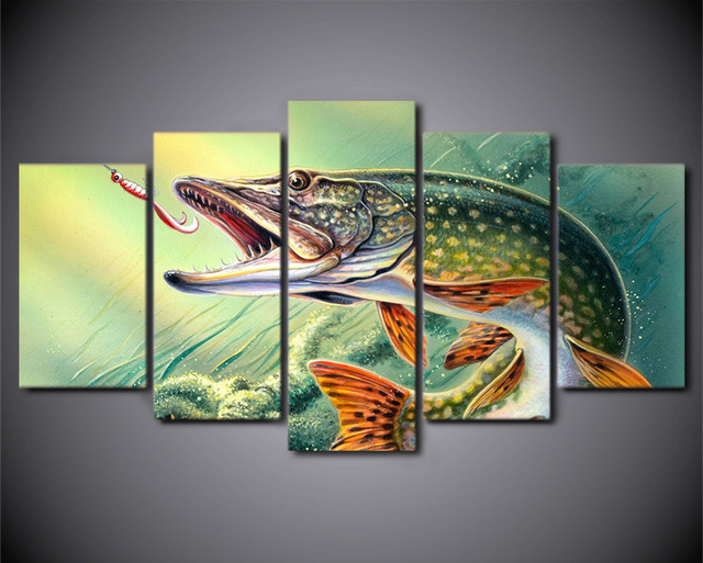 Aliexpress.com : Buy 5 Pieces Canvas Art Fishing Hooked Pike Fish ...
