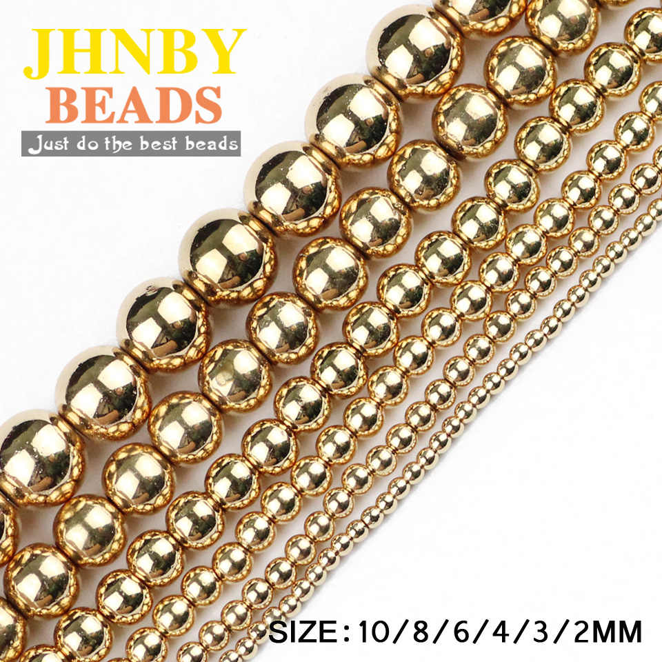 JHNBY Round Hematite beads 2/3/4/6/8/10mm Natural Stone 14 Gold color Loose beads ball Jewelry bracelets Making DIY Accessories