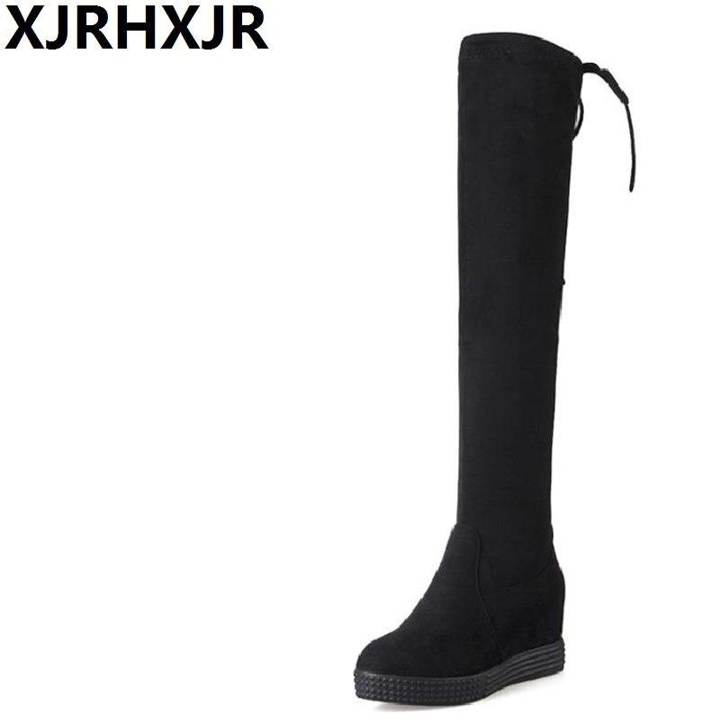 XJRHXJR Women Height Increasing Over The Knee Boot Winter Warm Knight Long Boot Platform Fashion Footwear Shoes Size 34-40