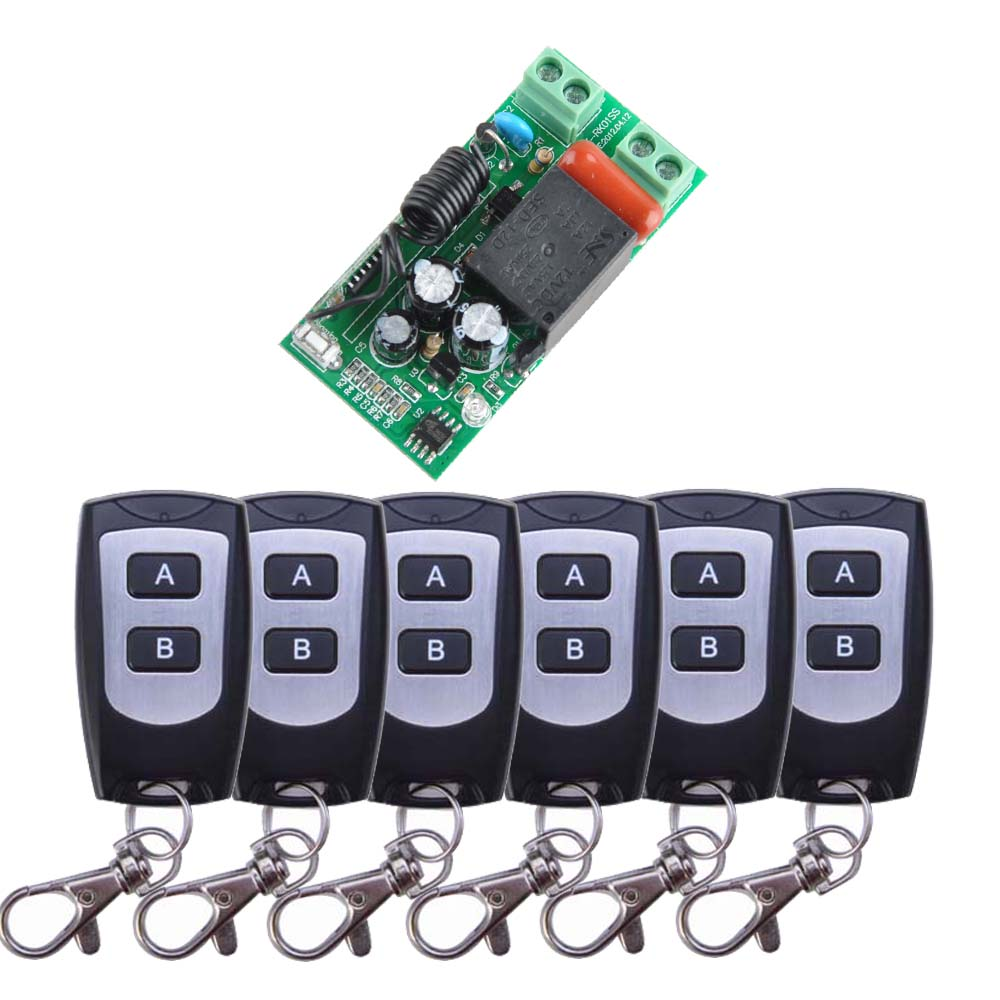AC 220V 1CH Wireless Remote Control Light Switch System Receiver Transmitter For 6PCS W/B Waterproof Remote ac 220v 110v 1ch remote control switch wireless remote switch system receiver transmitter 315mhz