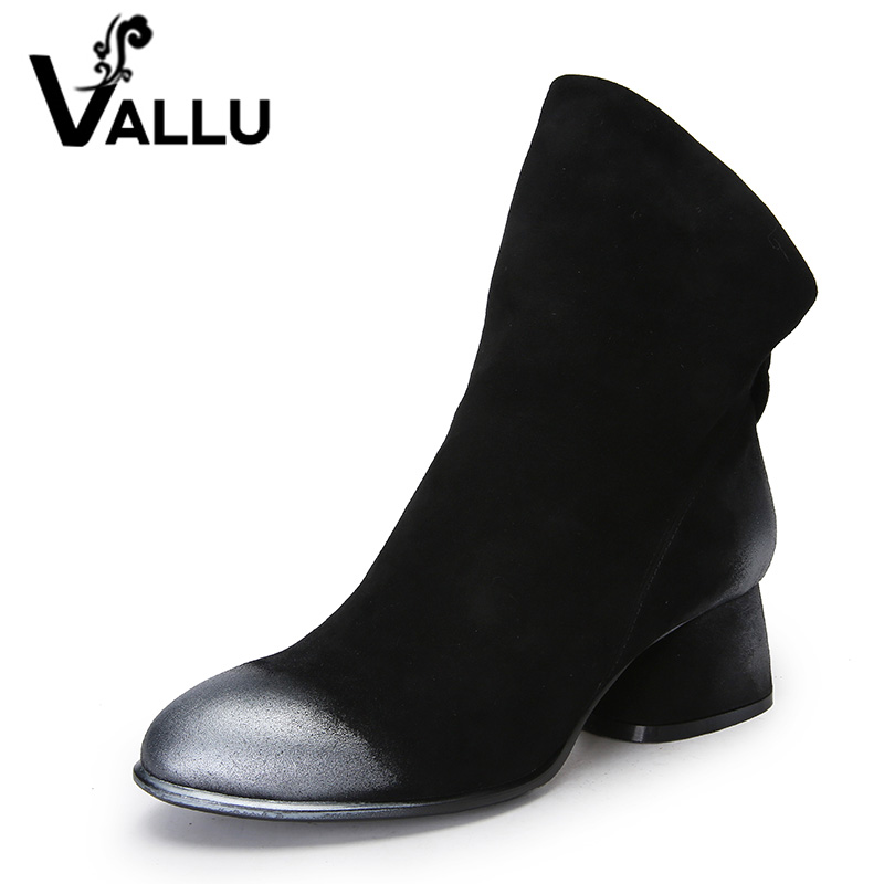 VALLU New 2018 Women Fashion Shoes Ankle Boots Natural Suede Mixed Color Low Heels Back Zipper Woman Boots Black Plus Size