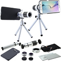 9 piece camera Set:12X Zoom Lens&Case+Fisheye&Macro&Wide-angle Camera Photo+Mini Tripod For Samsung Galaxy S5 S6 S7 Edge S6 PLUS