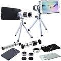 9 unidades de la cámara set: 12x zoom lens & case + ojo de pez y macro y gran angular de la cámara de fotos + mini trípode para samsung galaxy s5 s6 s7 edge s6 plus