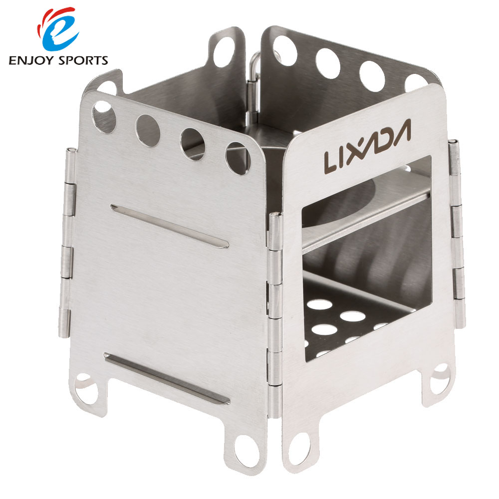 Portable Stainless Steel Pocket Folding Wood Stove Backpacking Stove  Outdoor Cooking Camping with Pouch Lixada 190g - Popular Camping Folding Wood Stove-Buy Cheap Camping Folding Wood