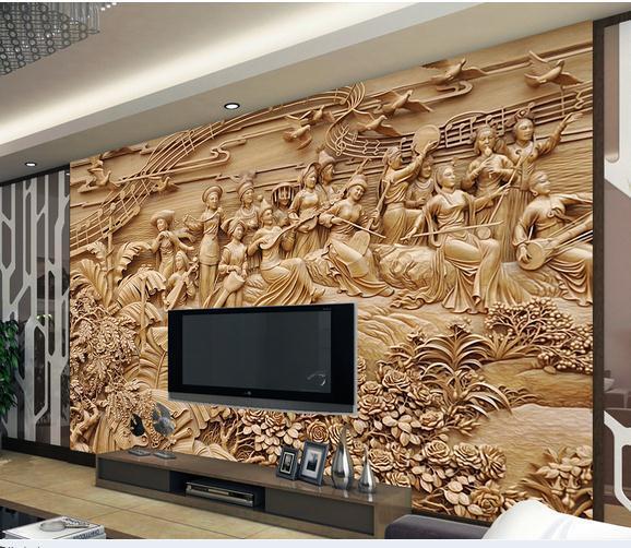 3D Photo Wallpaper 3d Wall Murals Wallpaper A Large Wooden Ethnic Customs  TV Setting Wall Murals