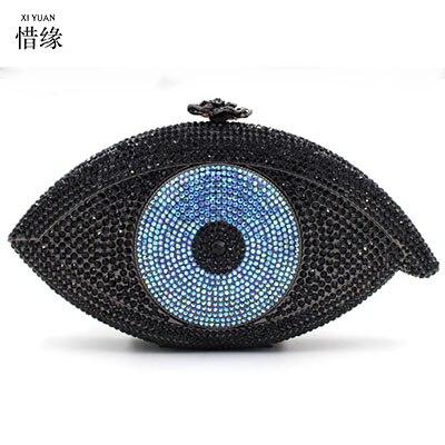все цены на XIYUAN BRAND 2017 luxury and high quality Eye diamond evening bag Full Diamond Dinner clutch hand bags Banquet wallets for lady онлайн