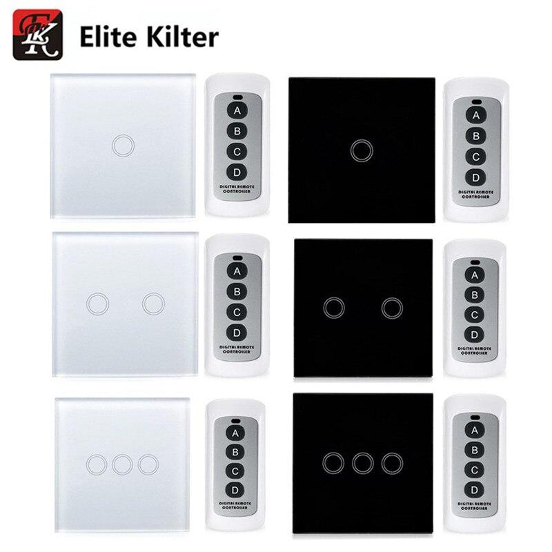 EU/UK Estándar Impermeable Táctil de Pared Interruptor de Luz Interruptor de control Remoto de Control de Luz Interruptor de Botón Táctil 1/2/3 Banda de 170 V ~ 240 V