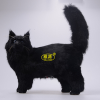simulation animal 32x38x13CM tail raise up cat model furry toy handicraft decoration ,baby toy d418